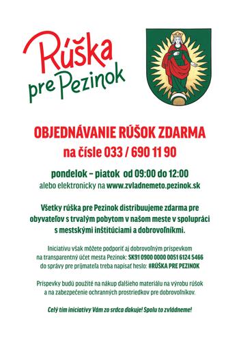 Rúška pre Pezinok - objednávanie rúšok zdarma (plagát)